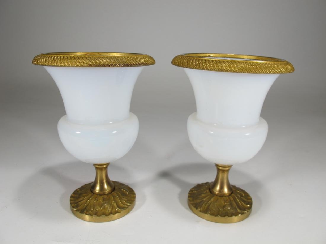 Antique French pair of gilt bronze & opaline glass urns