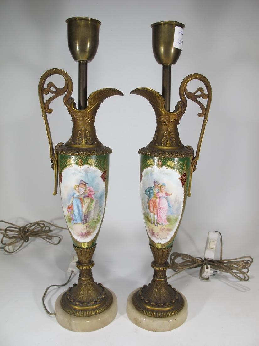 Antique Sevres style pair of bronze & porcelain lamps