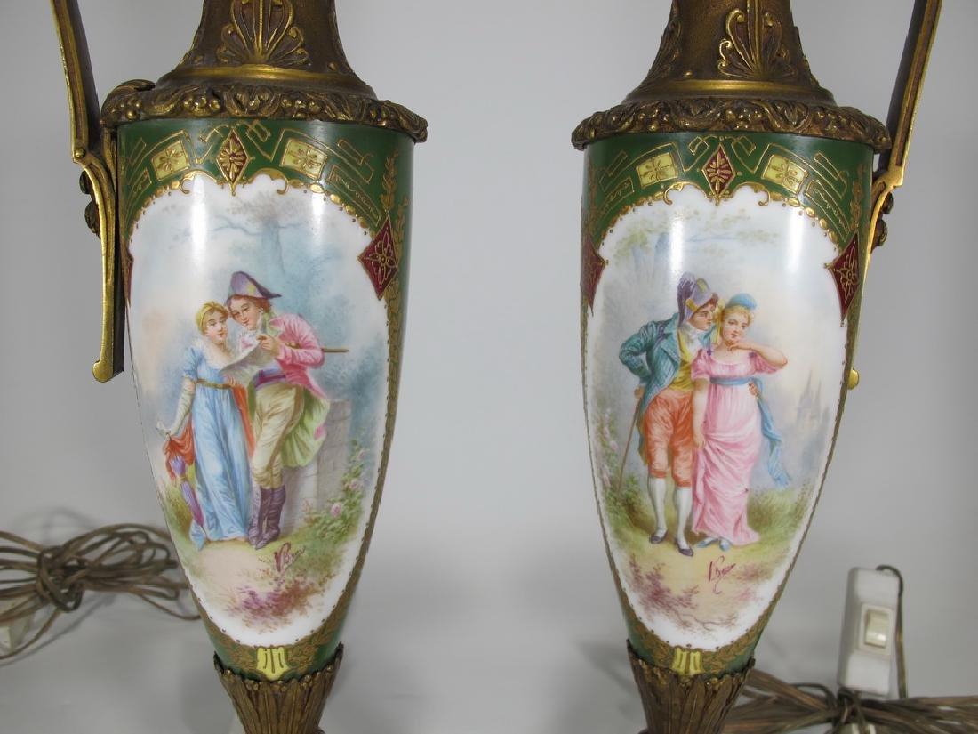 Antique Sevres style pair of bronze & porcelain lamps - 2