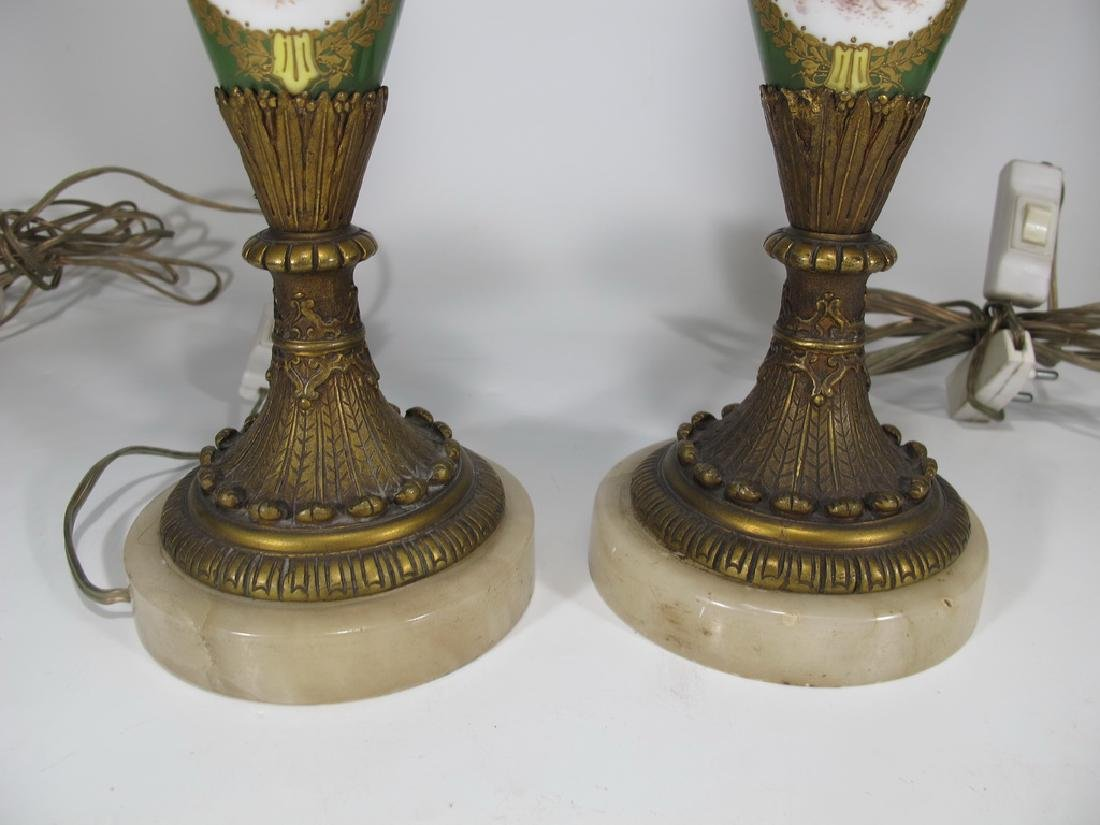 Antique Sevres style pair of bronze & porcelain lamps - 4