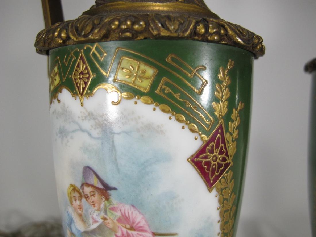Antique Sevres style pair of bronze & porcelain lamps - 6