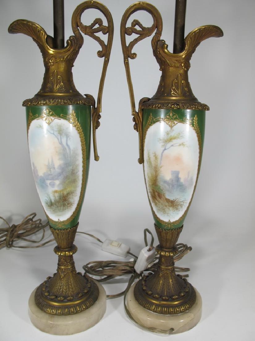 Antique Sevres style pair of bronze & porcelain lamps - 7