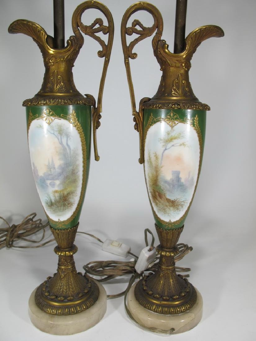 Antique Sevres style pair of bronze & porcelain lamps - 7