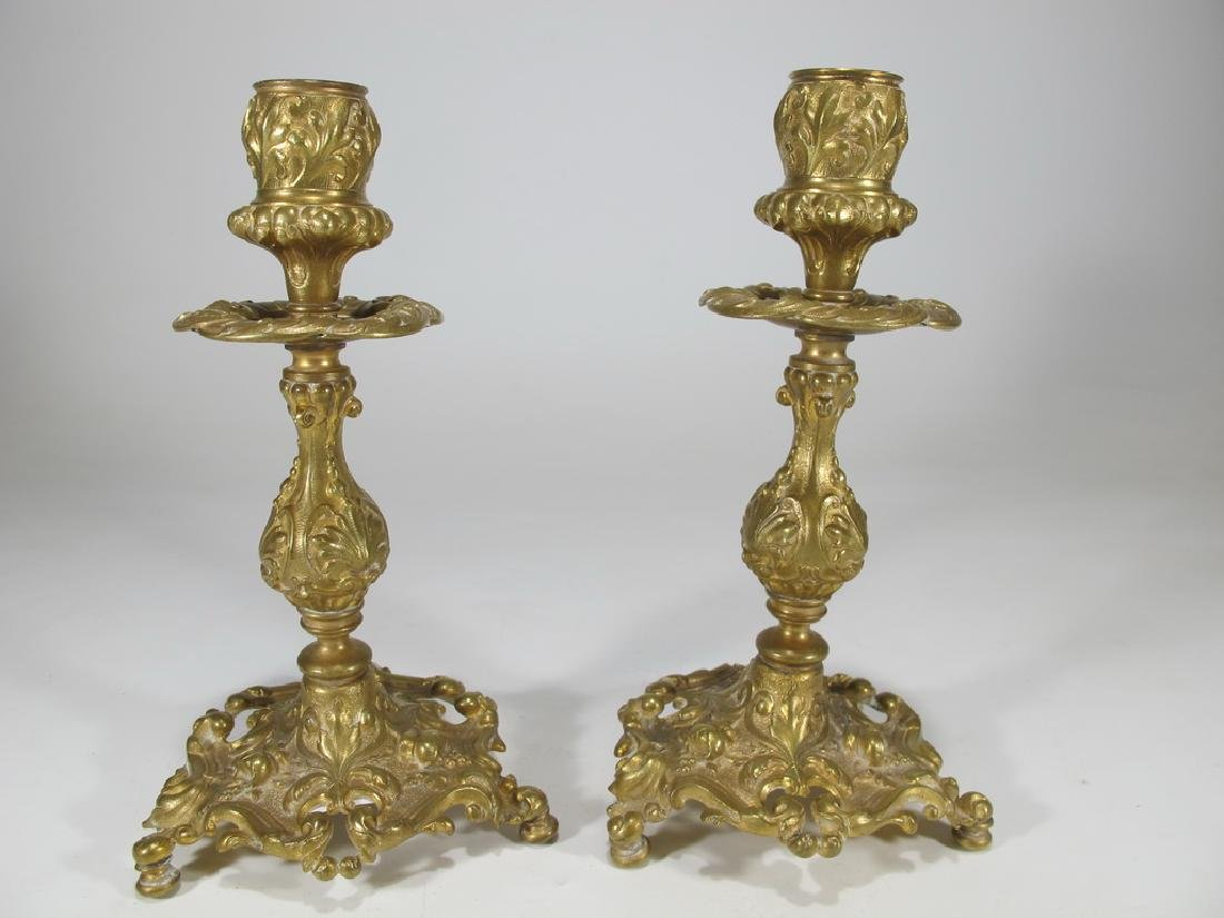 Antique French pair of gilt bronze candlesticks