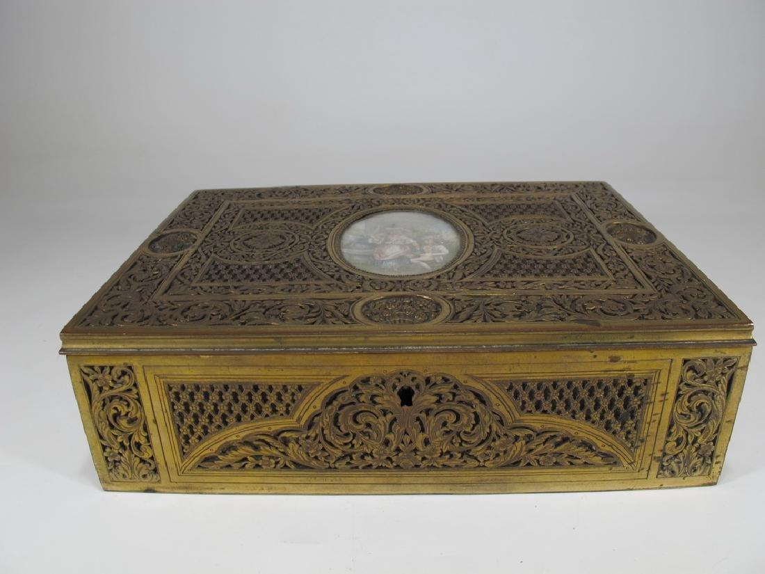 Amazing Antique European bronze jewelry box