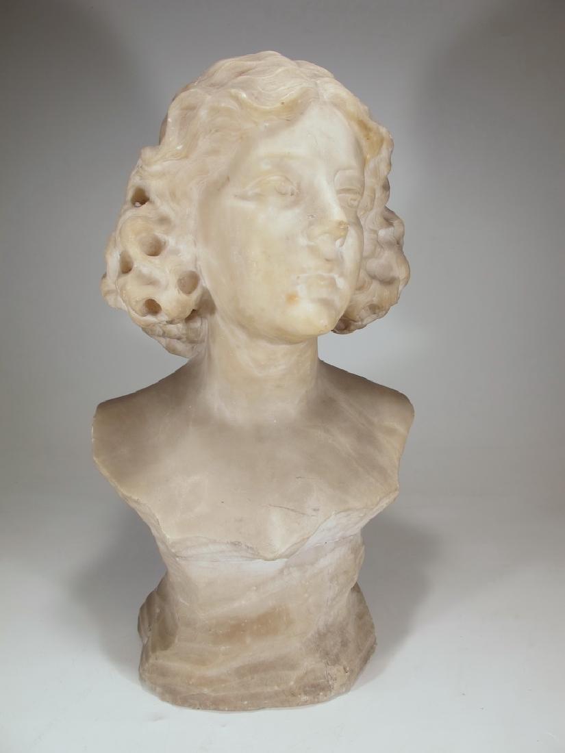 Antique European alabaster bust sculpture