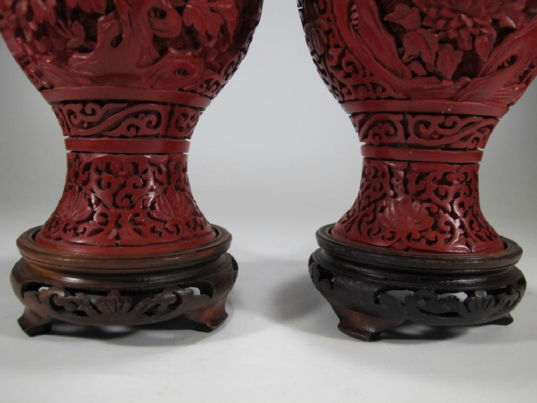 Vintage Chinese pair of cinnabar vases with a wood base - 5