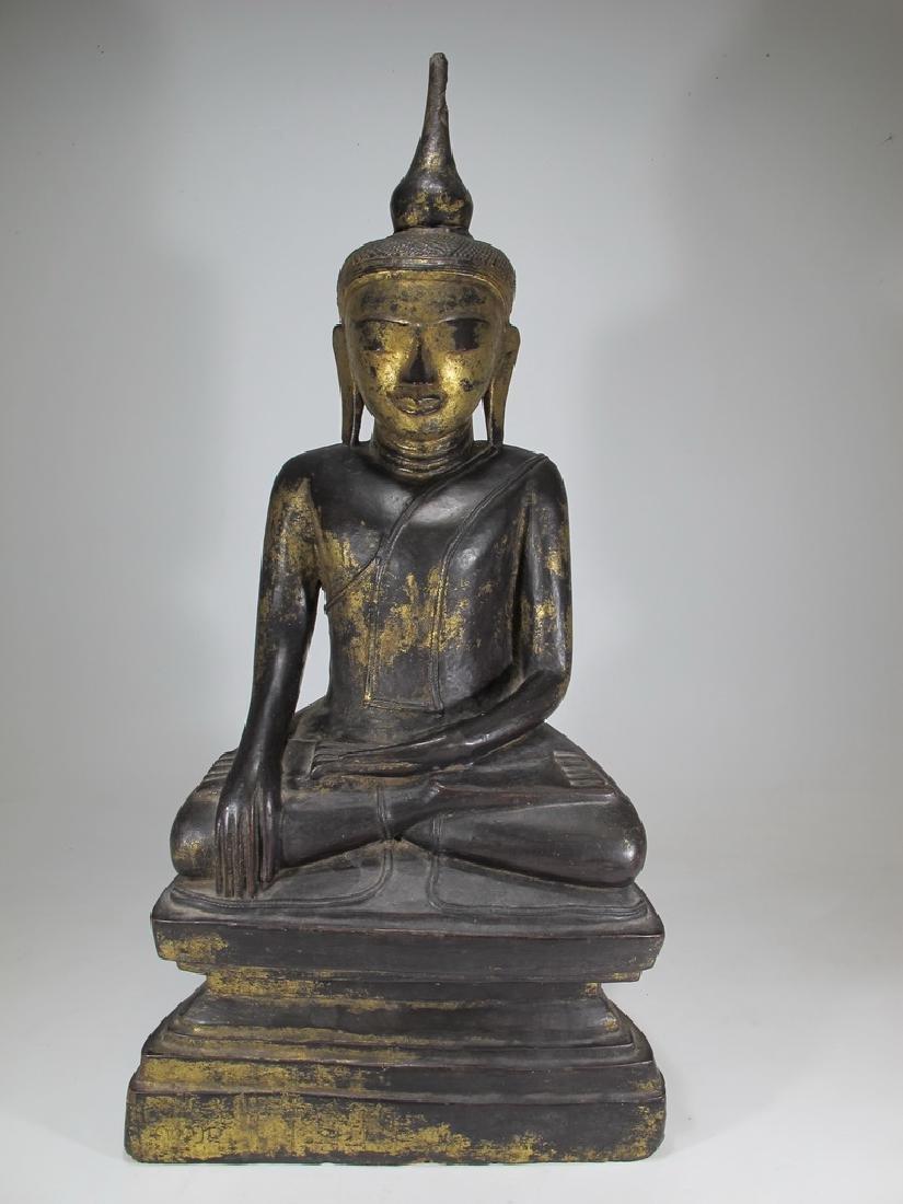 Antique Thai hand carved gilt wood Buddha sculpture