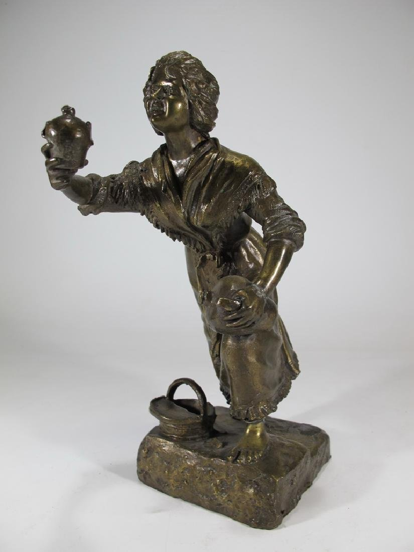 Antique European bronze woman sculpture