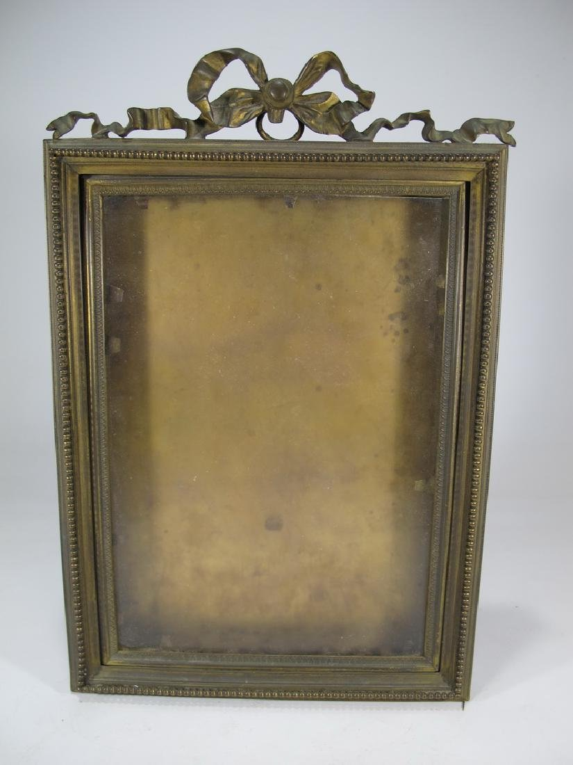Antique French bronze & glass picture frame