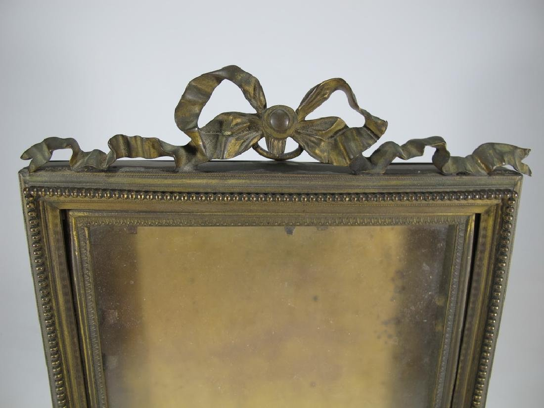 Antique French bronze & glass picture frame - 2