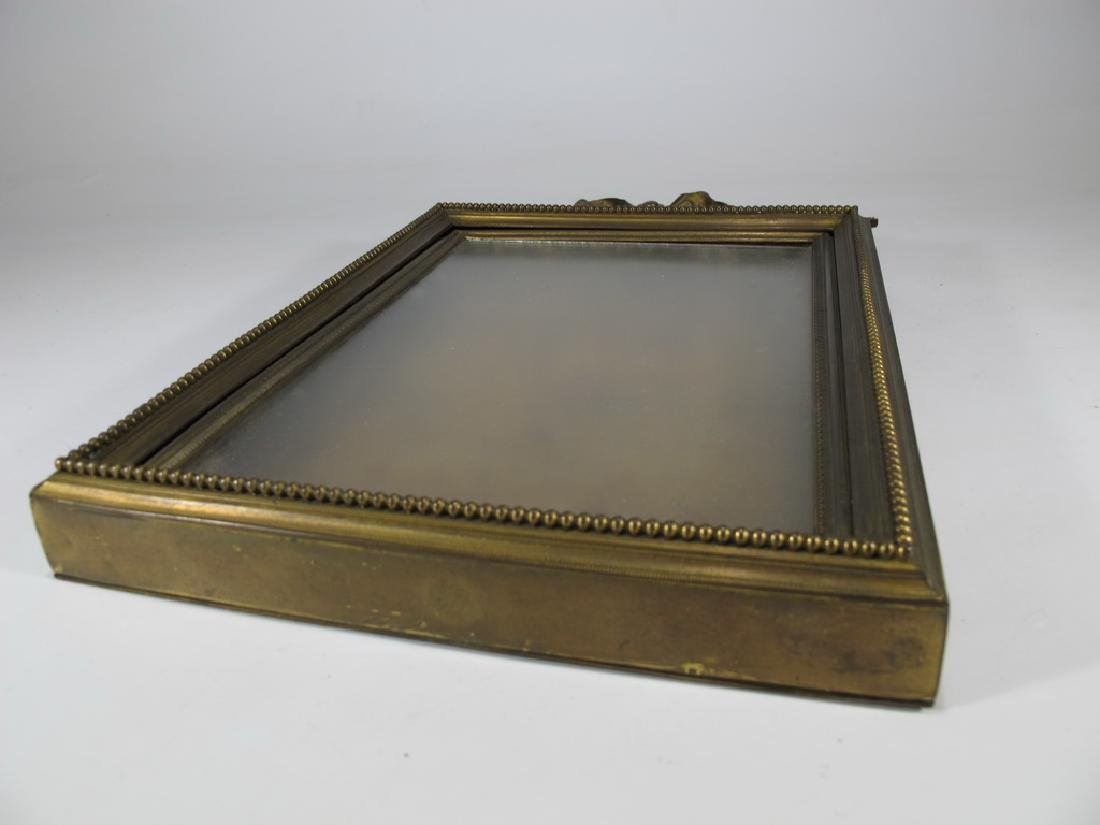 Antique French bronze & glass picture frame - 5