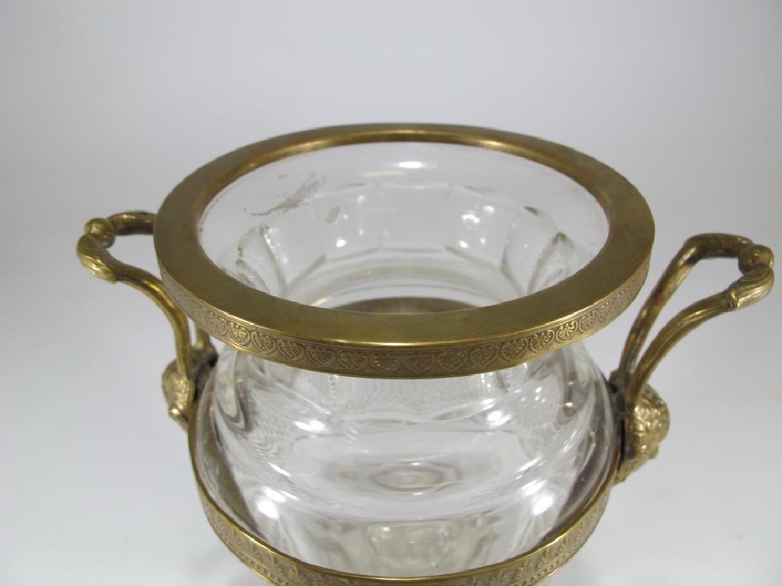 Antique Baccarat style gilt bronze & crystal urn - 2