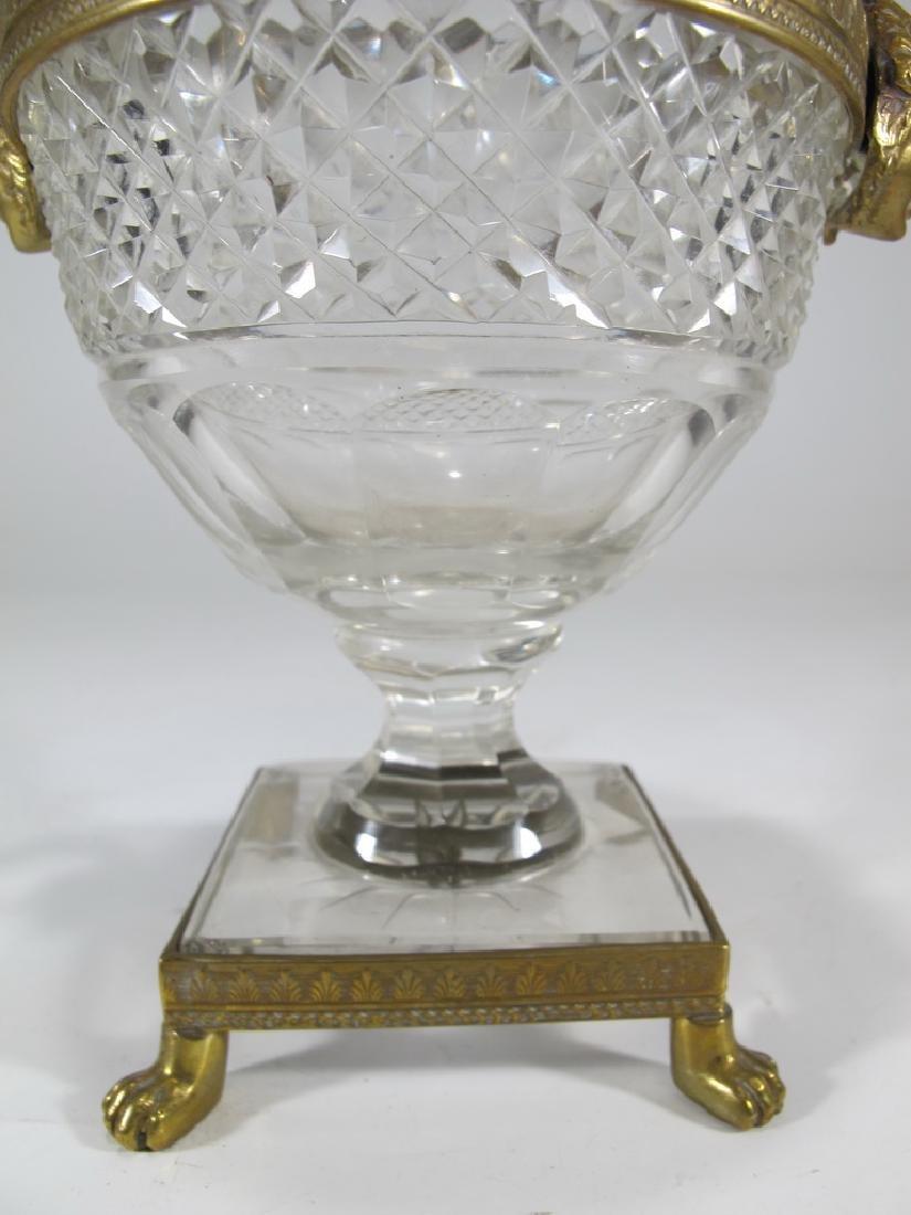 Antique Baccarat style gilt bronze & crystal urn - 4