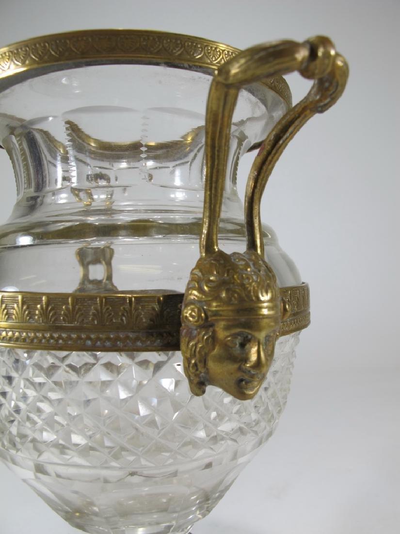 Antique Baccarat style gilt bronze & crystal urn - 5