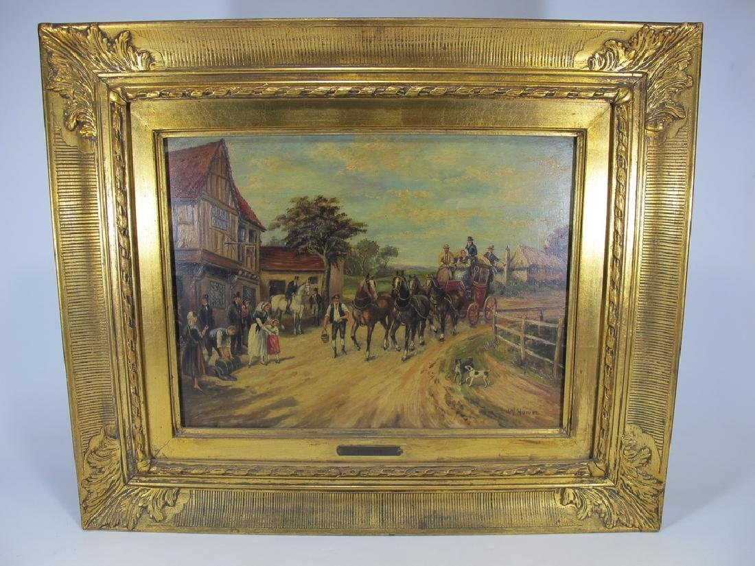 Antique European oil on wood painting, sign. W. Hower