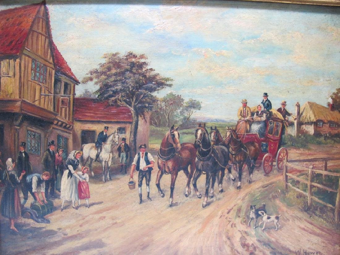 Antique European oil on wood painting, sign. W. Hower - 2