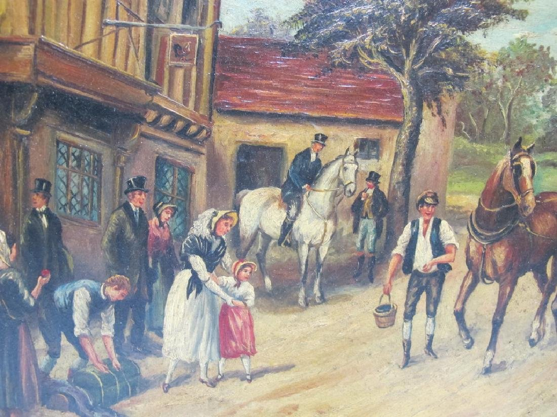 Antique European oil on wood painting, sign. W. Hower - 3
