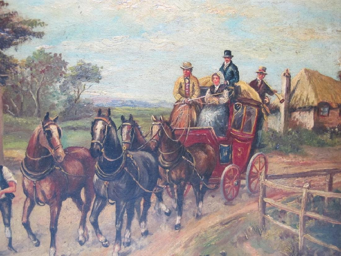 Antique European oil on wood painting, sign. W. Hower - 4