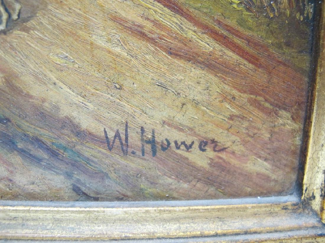 Antique European oil on wood painting, sign. W. Hower - 5