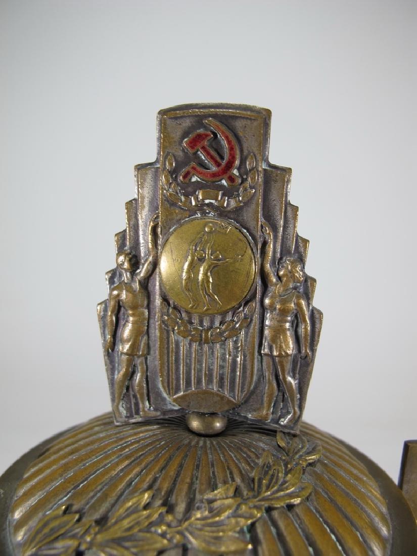 Antique Russian brass & enamel trophy - 2