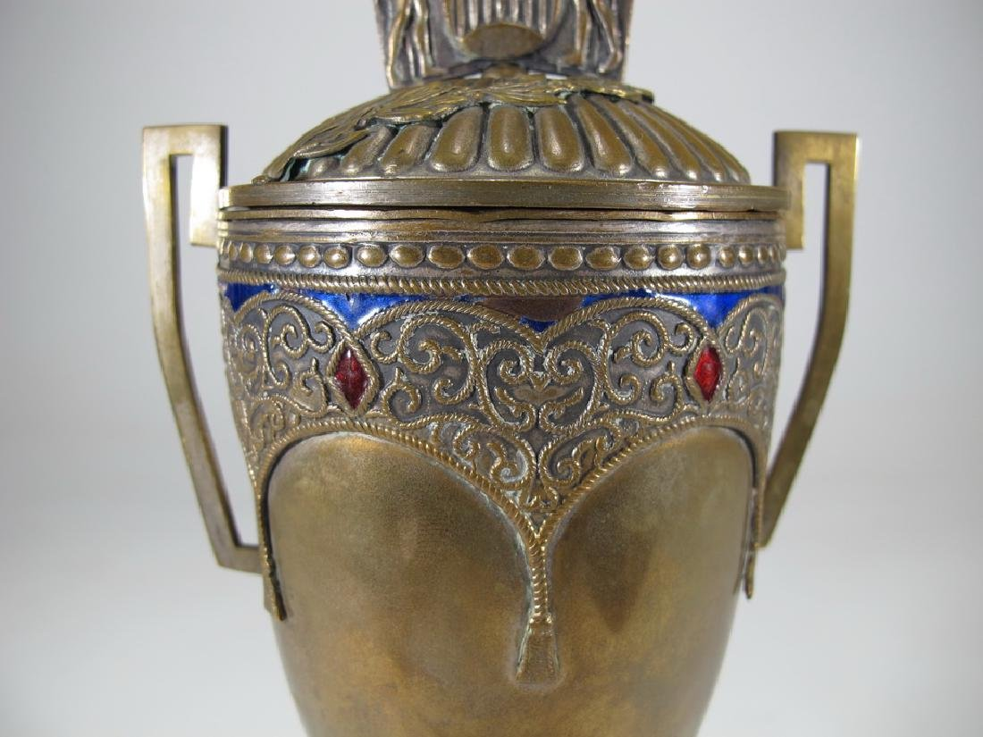 Antique Russian brass & enamel trophy - 3