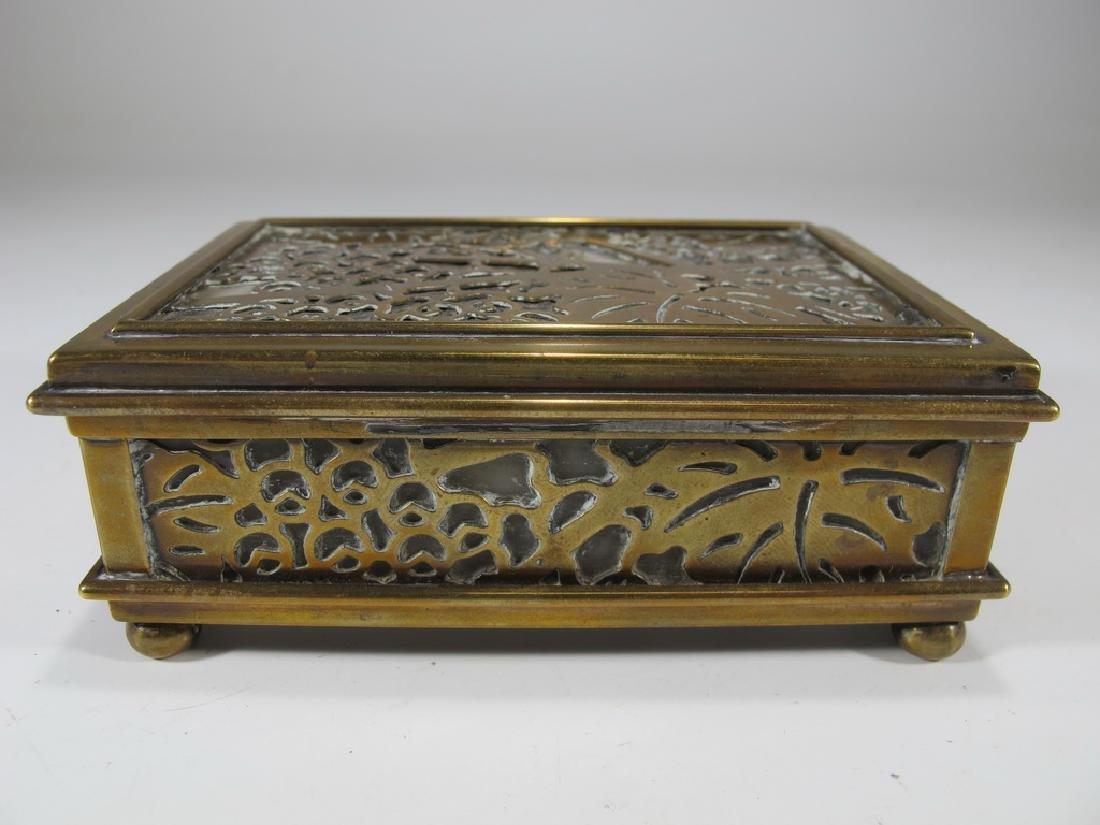 Antique Tiffany Studios bronze & glass box