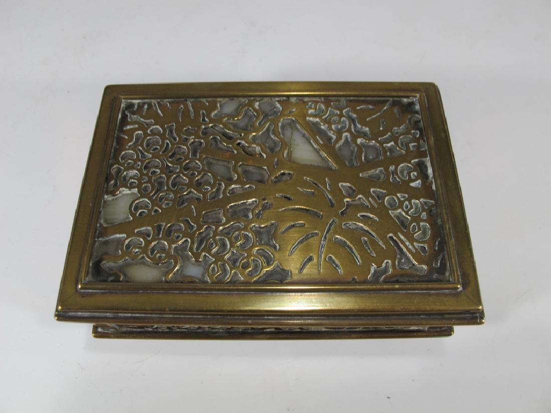 Antique Tiffany Studios bronze & glass box - 2