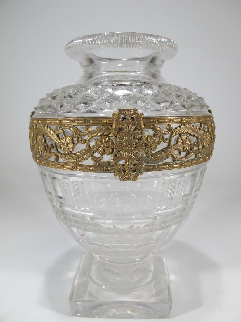 Antique French Baccarat bronze & crystal vase, signed