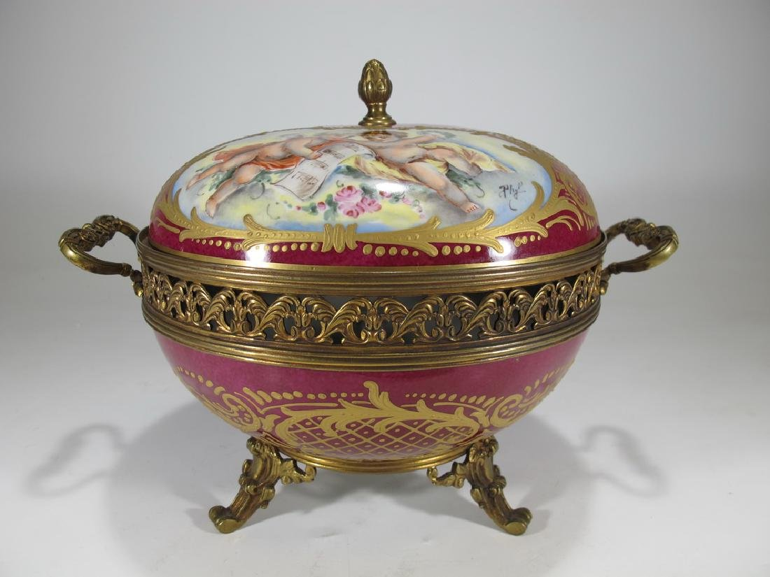 Antique French Sevres porcelain & bronze compote