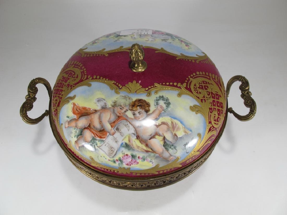 Antique French Sevres porcelain & bronze compote - 2