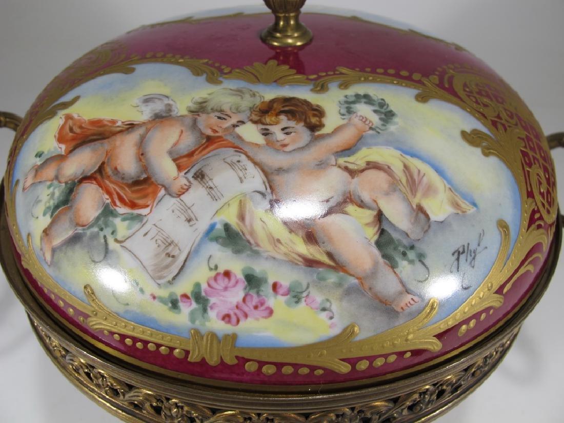 Antique French Sevres porcelain & bronze compote - 3