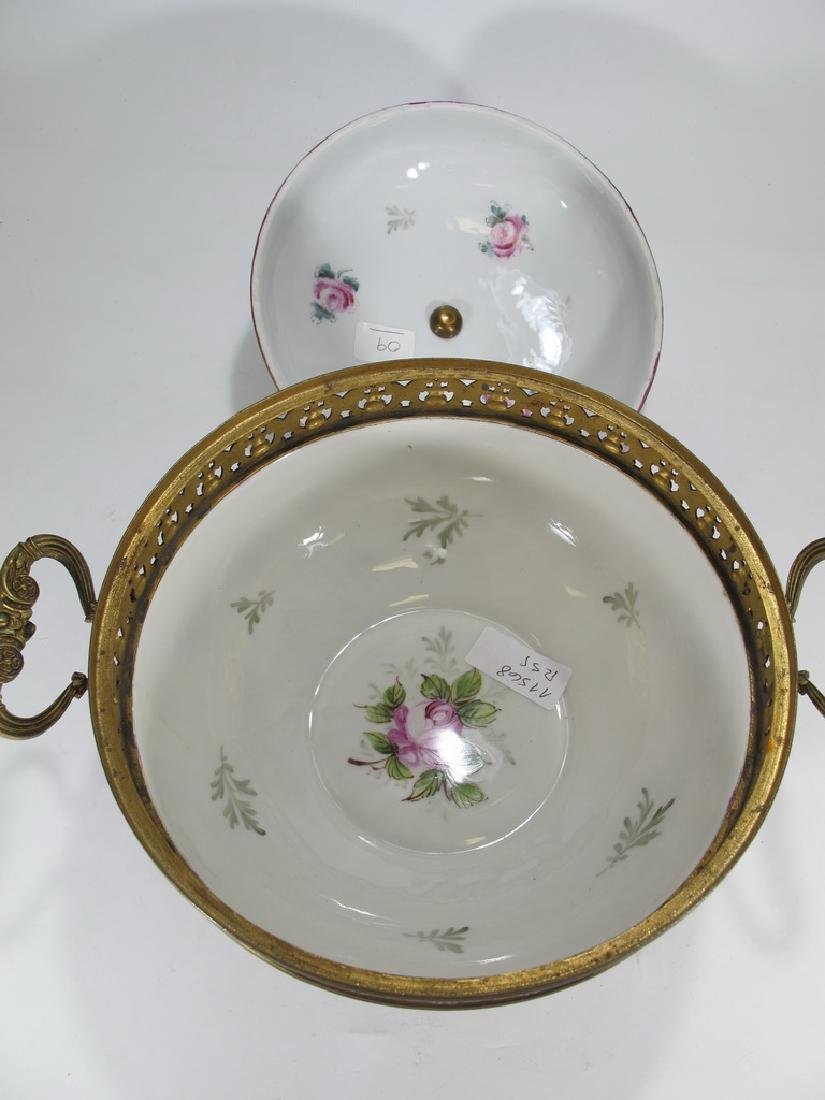 Antique French Sevres porcelain & bronze compote - 5