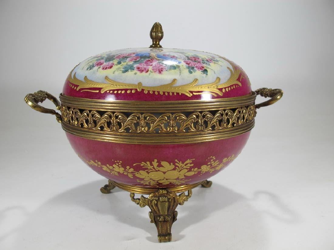 Antique French Sevres porcelain & bronze compote - 6