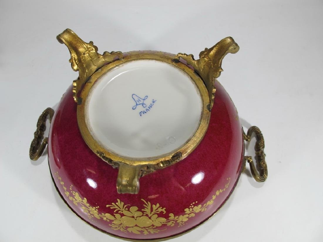 Antique French Sevres porcelain & bronze compote - 7
