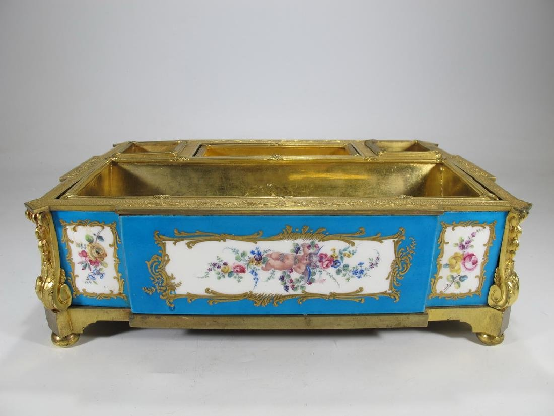 Amazing French gilt bronze & porcelain desk stand