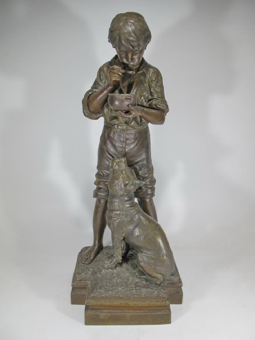 Antique French spelter boy & dog sculpture