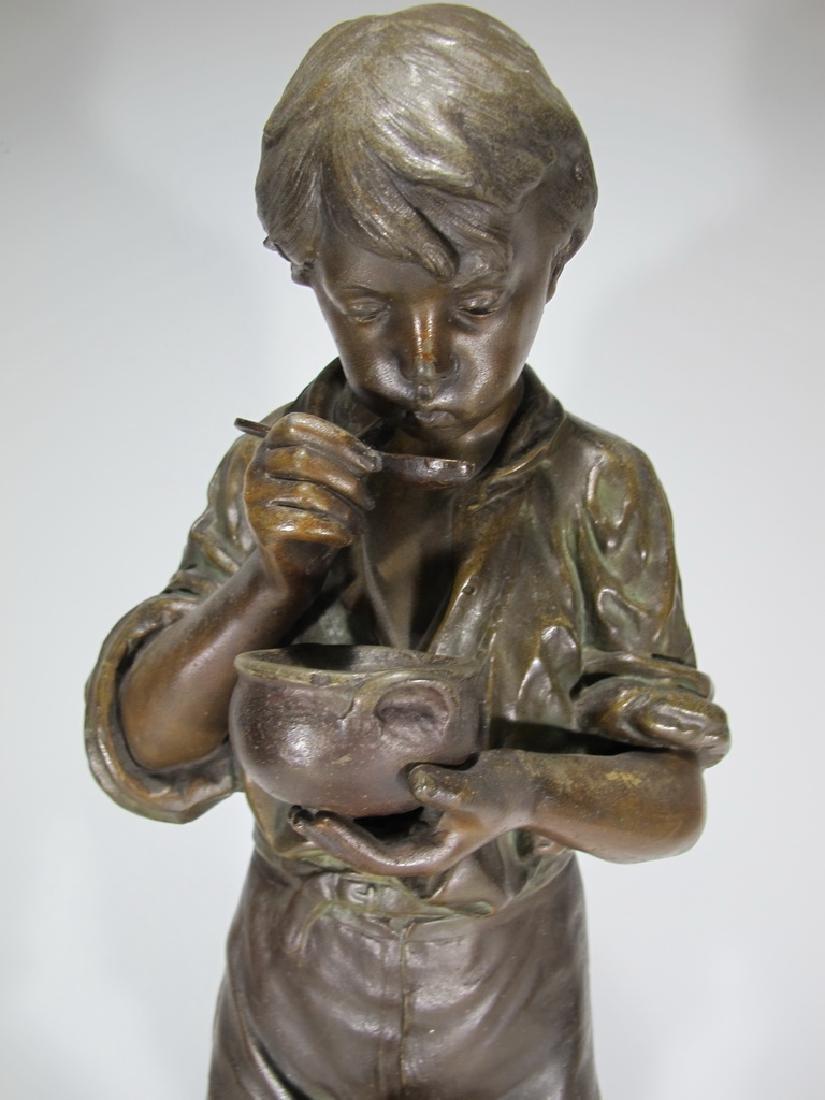 Antique French spelter boy & dog sculpture - 3