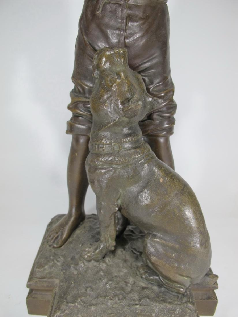 Antique French spelter boy & dog sculpture - 4