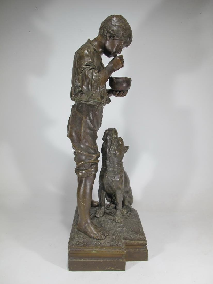Antique French spelter boy & dog sculpture - 5