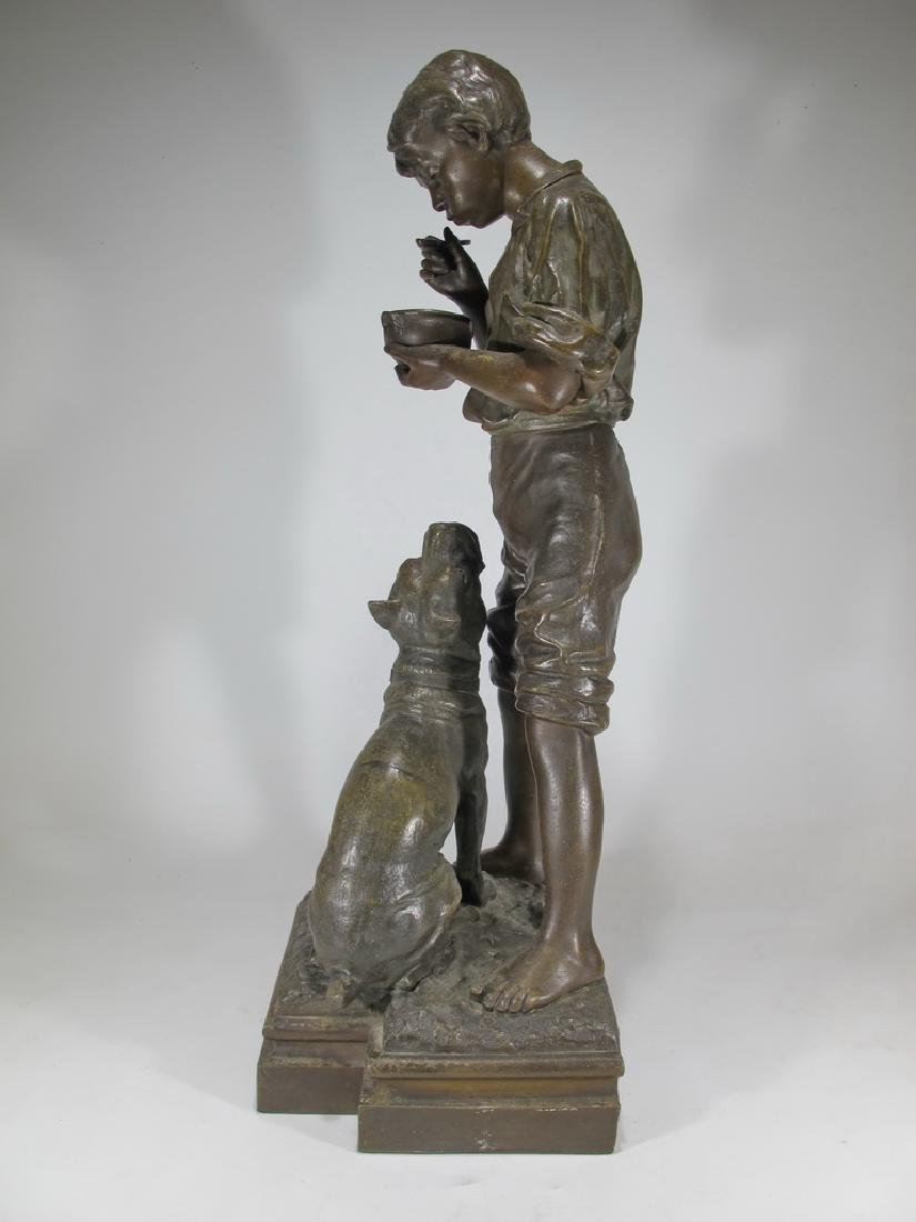 Antique French spelter boy & dog sculpture - 8