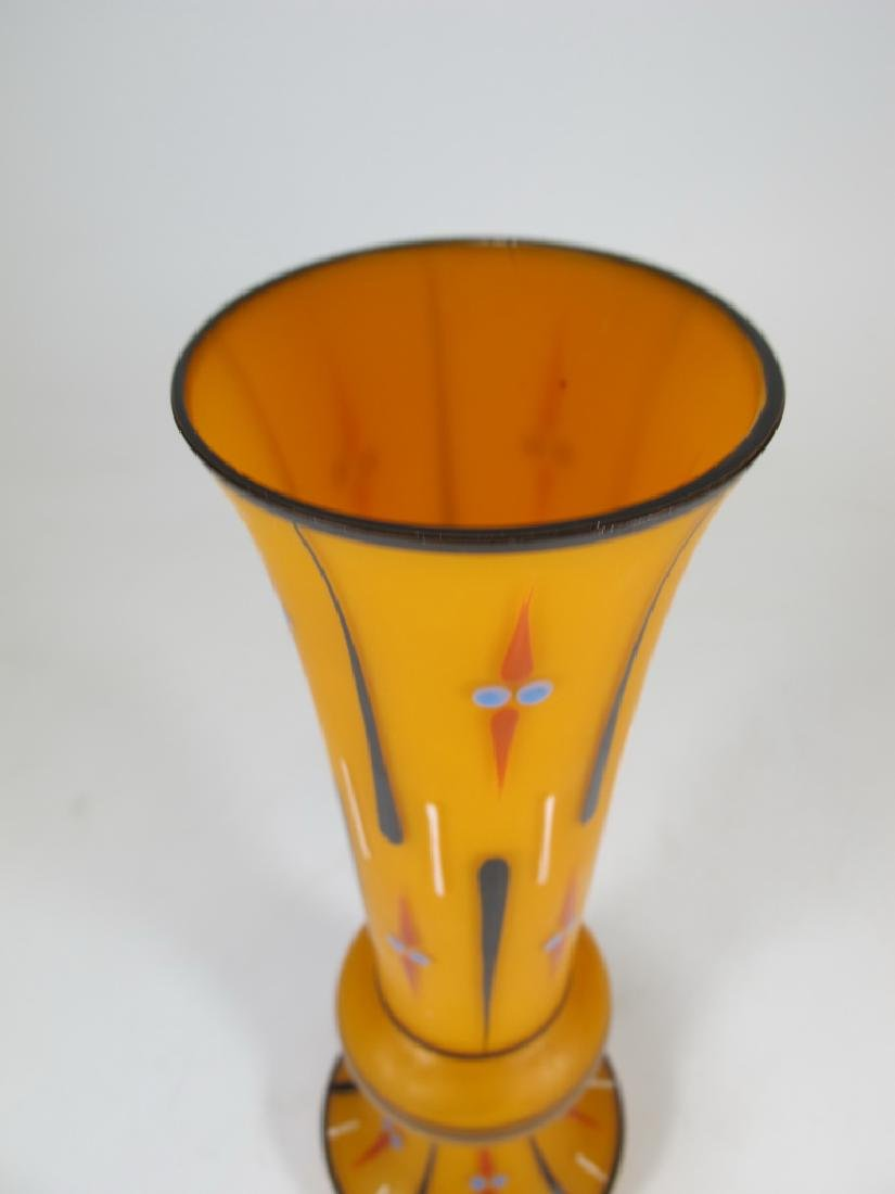 Vintage French enamel glass flower vase - 2