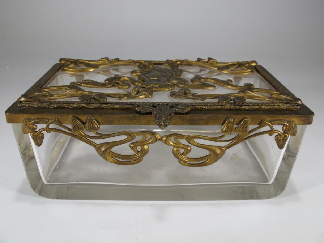 Antique Art Nouveau French bronze & glass box