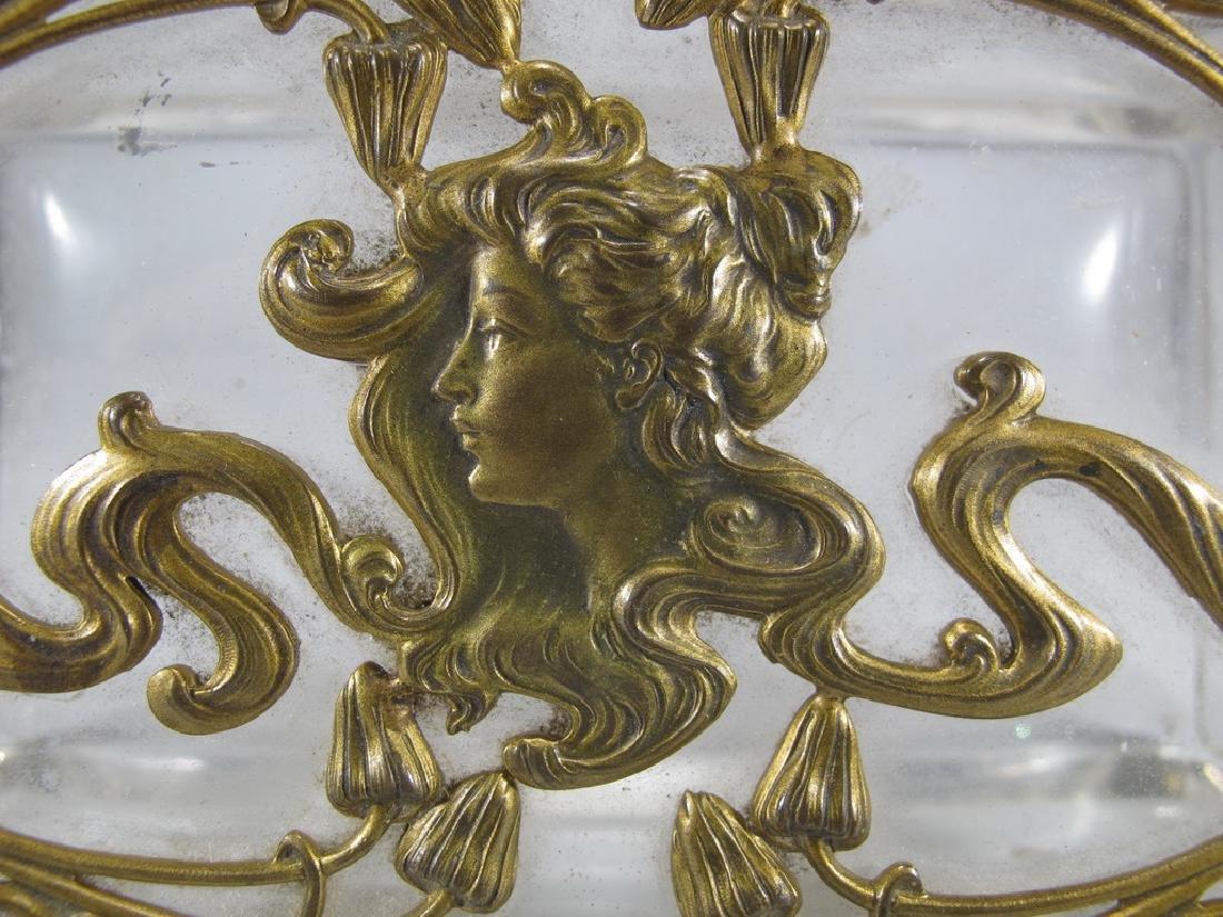 Antique Art Nouveau French bronze & glass box - 4