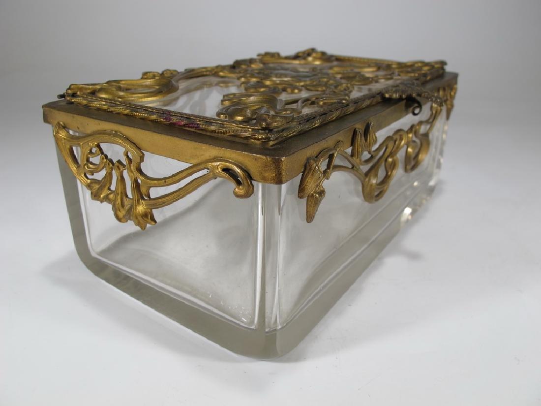 Antique Art Nouveau French bronze & glass box - 6