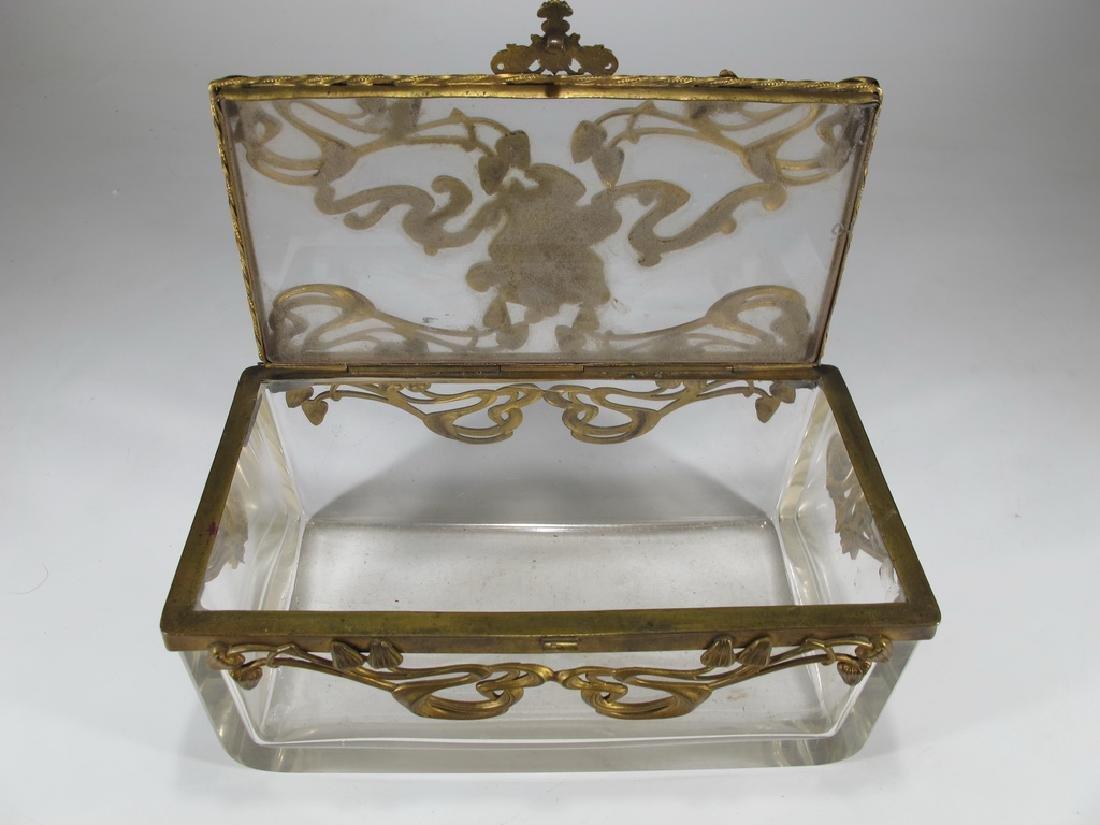 Antique Art Nouveau French bronze & glass box - 8
