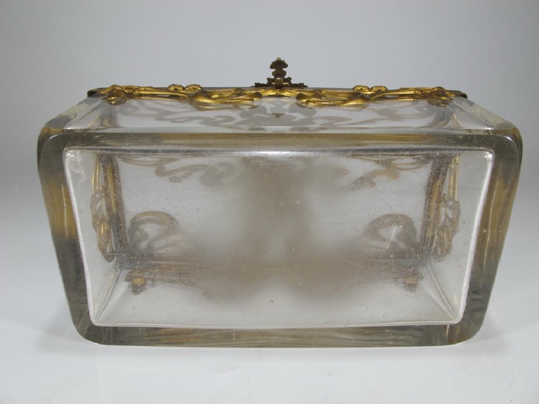 Antique Art Nouveau French bronze & glass box - 9