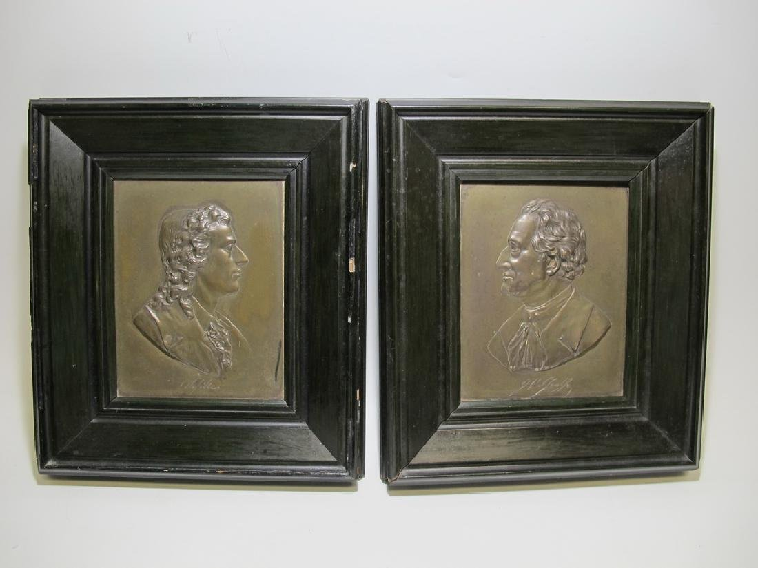 Antique European pair of metal framed plaques