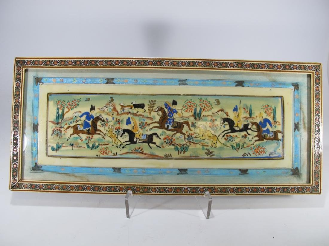 Antique Persian painting on a bakelite with a