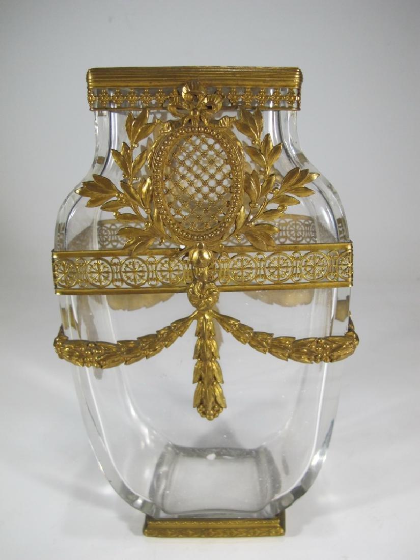 Antique probably Baccarat bronze & crystal vase